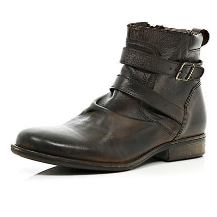 Brown leather distressed buckle biker boots - boots - shoes .