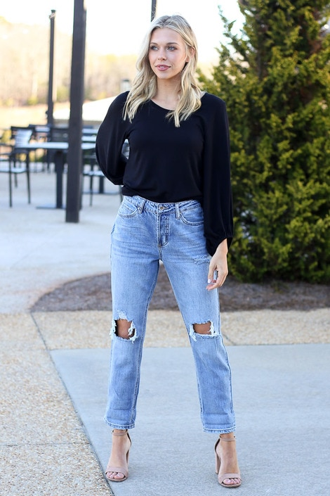 Distressed Boyfriend Jeans | ShopDress