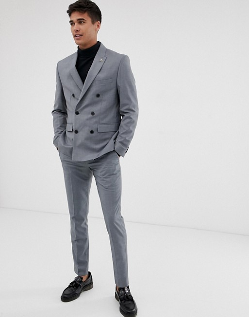 Farah Henderson skinny fit double breasted suit jacket in gray | AS