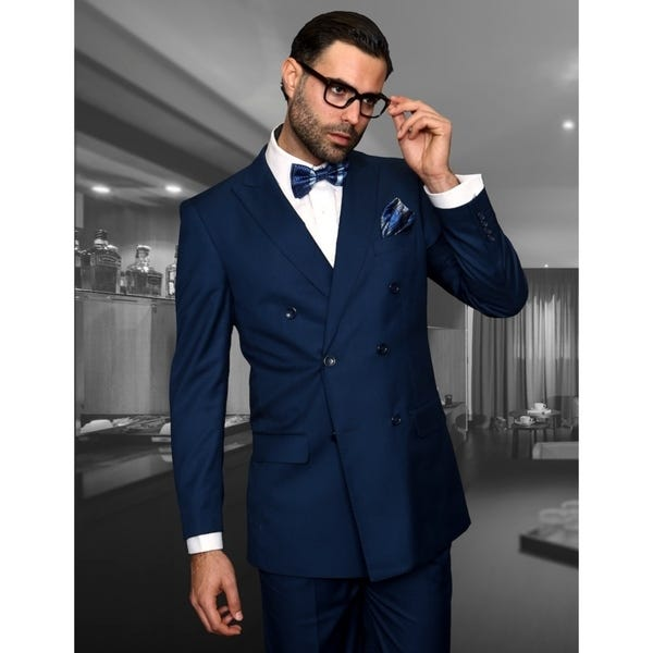 Shop Statement TZD-100 Indigo Double Breasted Suit - On Sale .