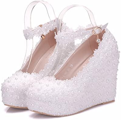 Amazon.com | White Lace Wedding Shoes Wedges Heels Platform Wedges .