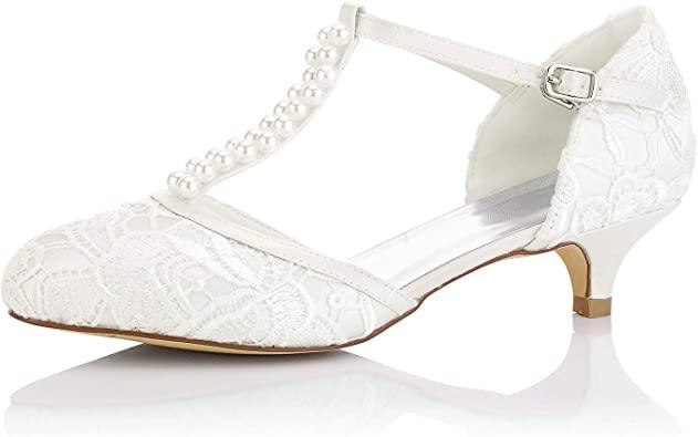Amazon.com | JIAJIA 01129 Women's Bridal Shoes Closed Toe T-Strap .