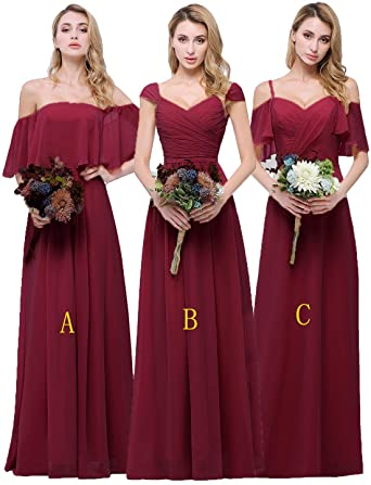 CLOTHKNOW Chiffon Bridesmaid Dresses Long for Women Girls to .