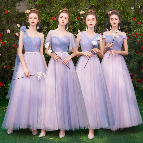 Affordable Classy Lavender Bridesmaid Dresses 2019 A-Line .