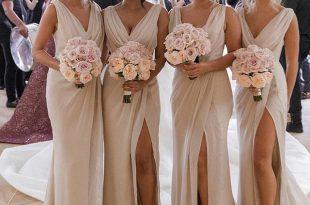 Sheath V Neck Open Back Champagne Split Long Bridesmaid Dresses .
