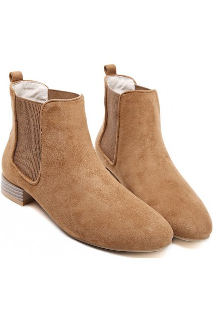 Suede Brown Old School Vintage Wooden Heels Ankle Boots .