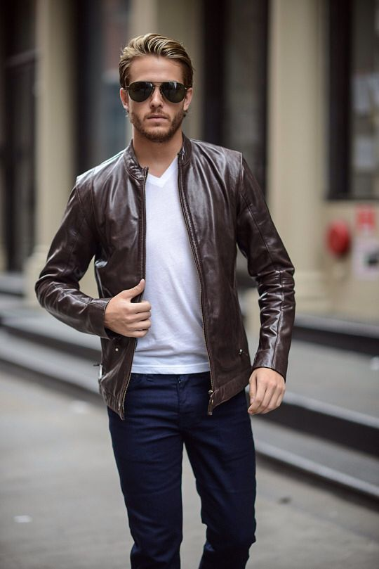 Brown Leather Jacket | Jackets men fashion, Leather jacket outfits .