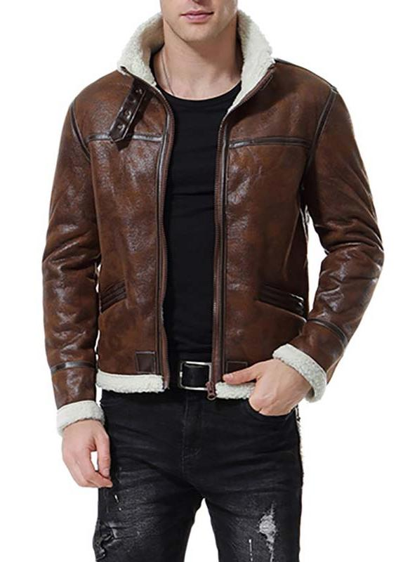 Brown Shearling Leather Jacket Mens | Free Shippi