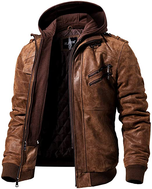 FLAVOR Men Brown Leather Motorcycle Jacket with Removable Hood at .