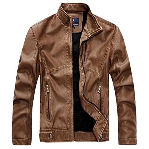 Leather Jacket Brown: Amazon.c