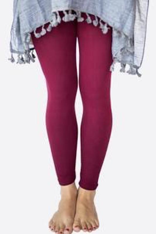 Solid Burgundy Leggings - YOGA Waist | Brushed Soft Maroon Leggin