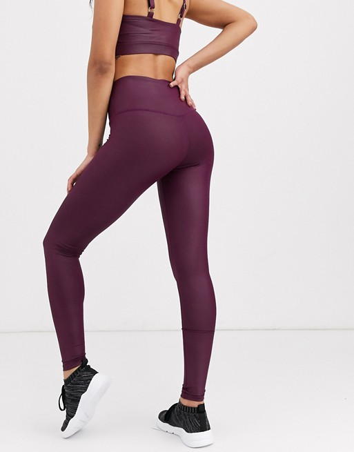 South Beach wetlook leggings in burgundy | AS