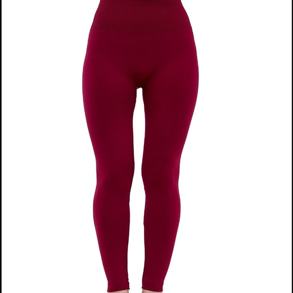 adfolf Pants | High Waist Leggings Burgundy | Poshma