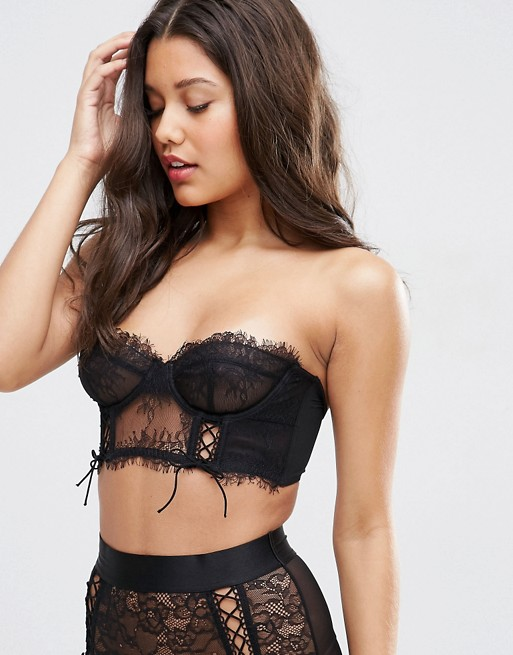ASOS FAYE Satin & Lace Up Underwire Bustier Bra | AS