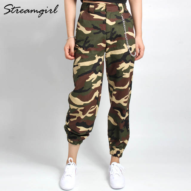 Sweatpants Camo Cargo Pants Women Camouflage High Waist Woman .