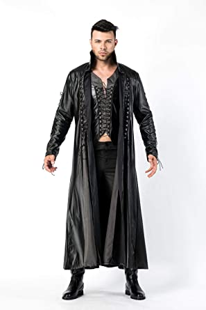 Amazon.com: Steampunk Cape Coat Gothic Men's Long Sleeve Jacket PU .