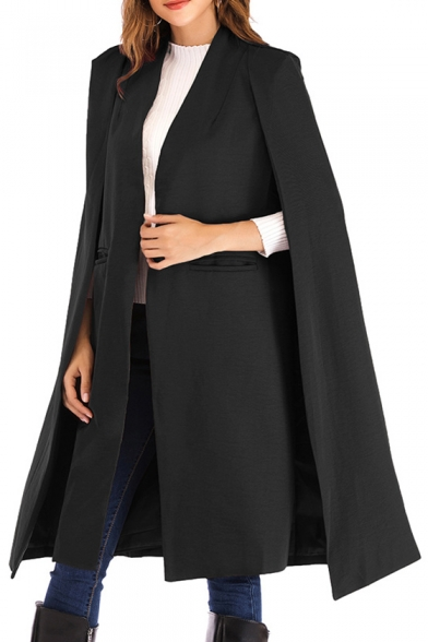 Ladies' Chic Simple Solid Open Front Longline Cape Coat .
