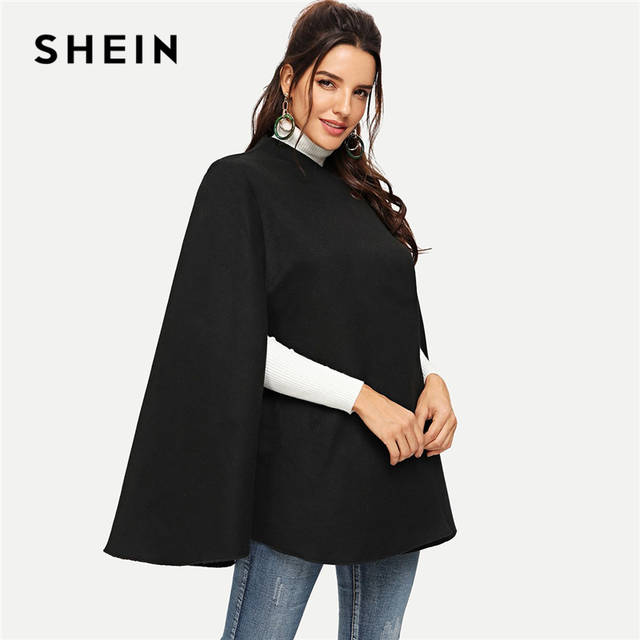 SHEIN Black Highstreet Solid Single Button Cloak Sleeve Oversized .