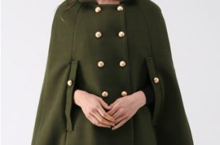 Keep It Elegant Double-Breasted Cape Coat in Army Green - Retro .