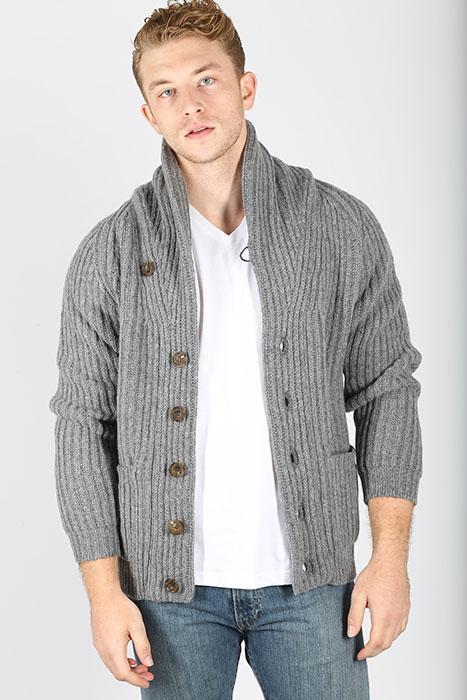 Grey Lambswool Wool Shawl Collar Cardigan Sweater - Winston & C