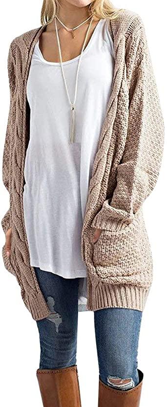 Traleubie Women's Open Front Long Sleeve Boho Boyfriend Knit .