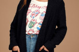 Black Cardigan - Cozy Knit Cardigan - Open Front Cardigan Sweat