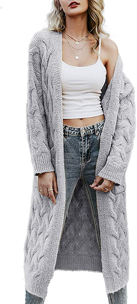Simplee Women's Casual Open Front Long Sleeve Knit Cardigan .