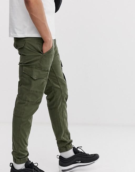 Jack & Jones Intelligence cuffed cargo pants in green | AS