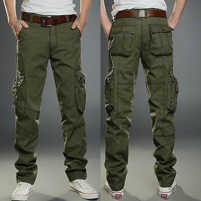 Men's Combat Cotton Cargo Pants Military Camouflage Camo Trousers .
