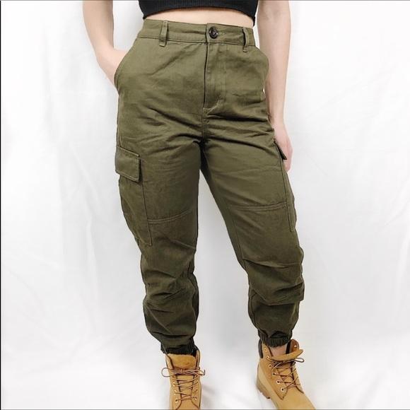 Wild honey Pants | Army Green Cargo | Poshma