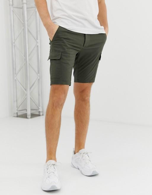 ASOS DESIGN skinny cargo shorts in khaki | AS