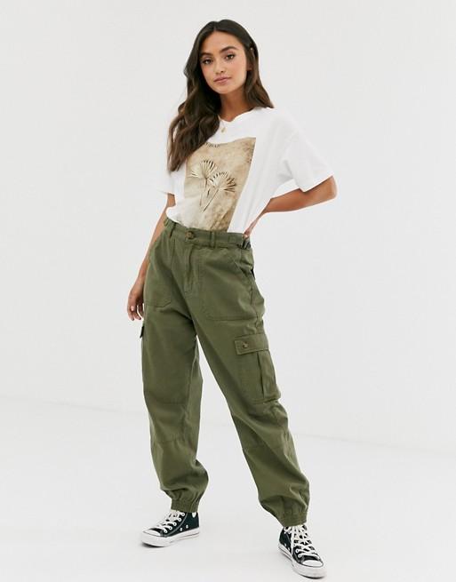 Pull&Bear fasten tab cargo trousers in khaki | AS