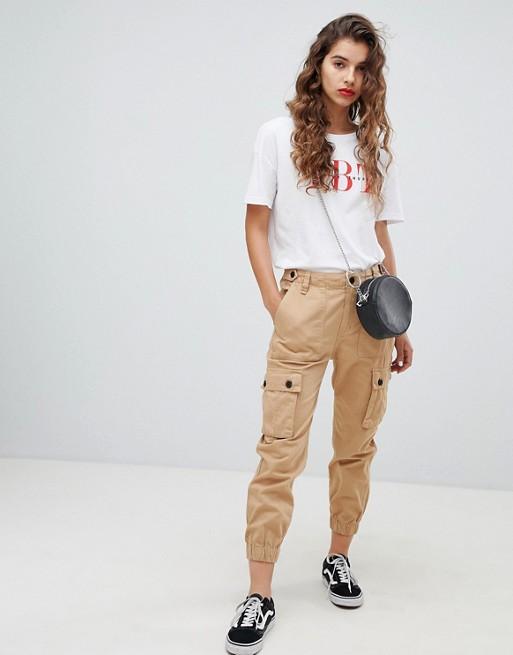 Bershka utility cargo trousers in beige | AS