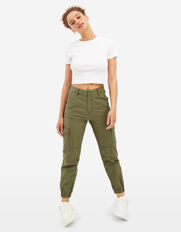 Khaki High Waist Cargo Trousers | TALLY WEiJL Online Sh