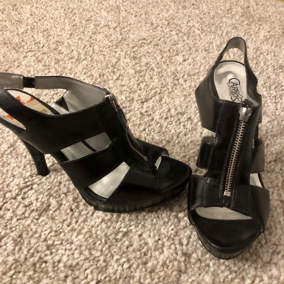 Carlos Santana Shoes | Black Zipper Platform Heel | Poshma