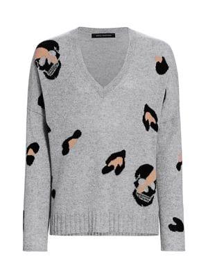 360 Cashmere - Heidi Leopard Skull Cashmere Sweater - saks.c