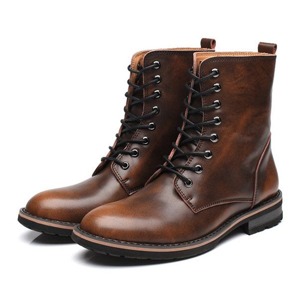 High-quality Men British Style Cow Leather Non-slip High Top .