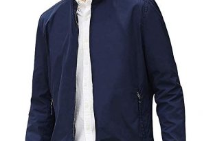 Beverry Collarless Men's Jacket Lightweight Casual Coats Zip Up .