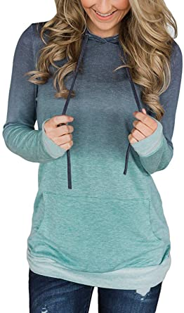 Women's Fashion Pullover Sporty Shirt Comfy Long Sleeve Hoodies .
