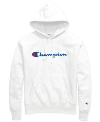 Champion Men's Script-Logo Fleece Hoodie - White 2XL | Champion .