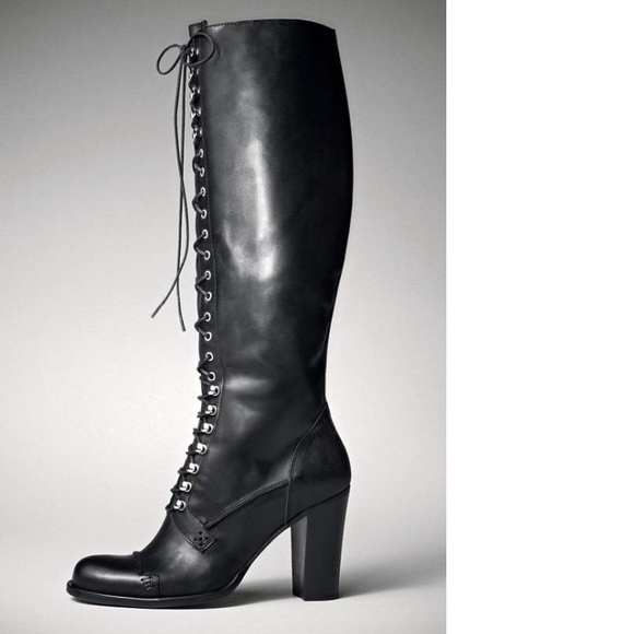 Charles David Shoes | Knee High Lace Up Griot Leather Boot | Poshma