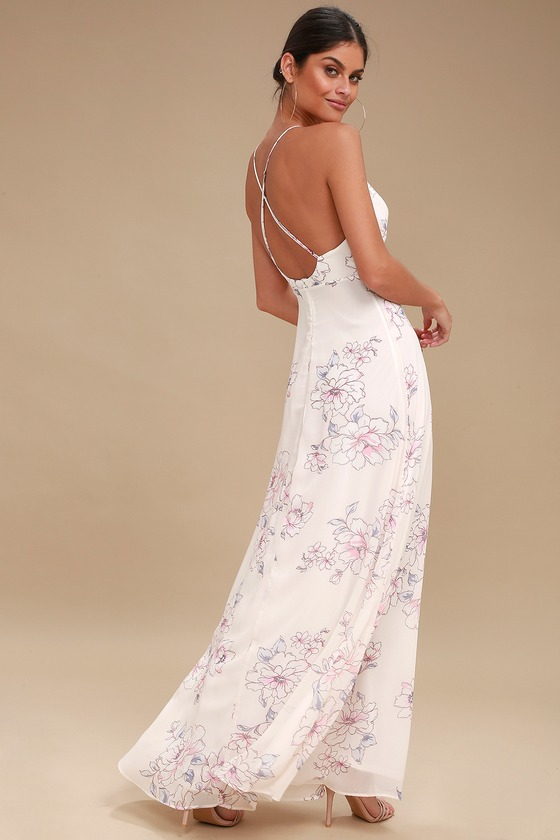 Lovely Floral Print Dress - Pale Pink Dress - Maxi Dre