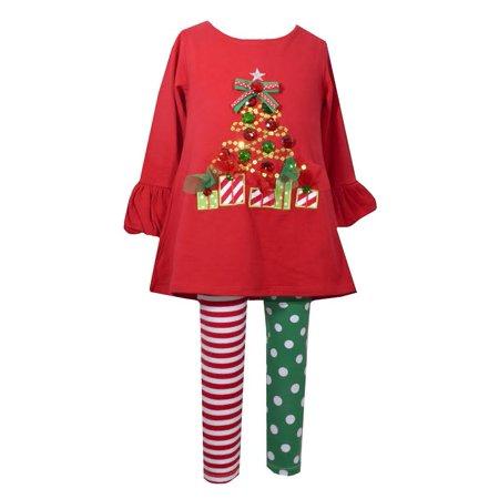 Bonnie Jean - Bonnie Jean Girls Red Tree Knit Christmas Legging .