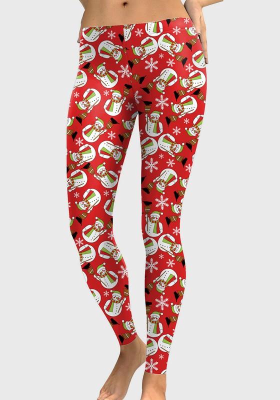 Red Floral Print Elastic Waist Long Christmas Legging - Leggings .