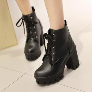 Colorful Shoes Lace-Up Chunky-Heel Ankle Boots | YesSty