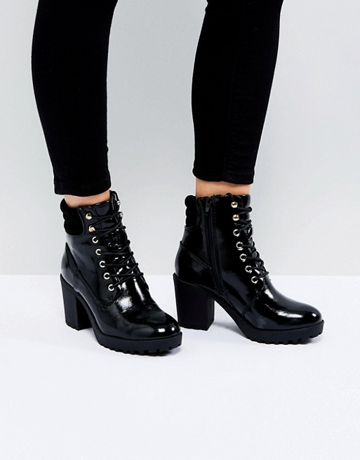 River Island Chunky Heel Zip Back Heeled Boots | AS
