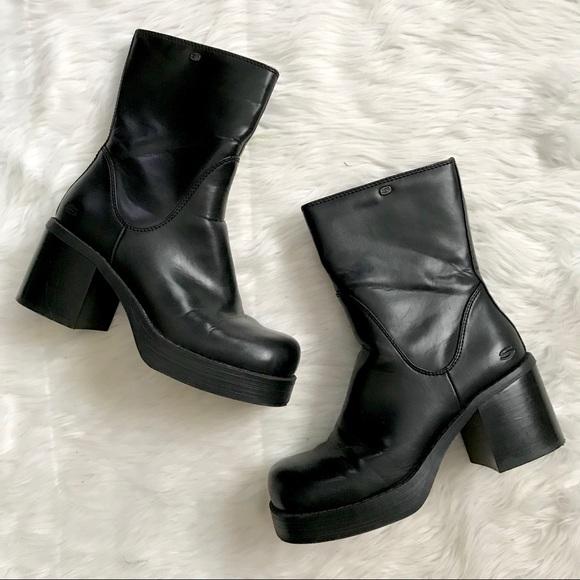 Skechers Shoes | Vintage 90s Black Chunky Heel Boots | Poshma