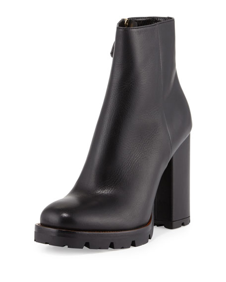 Prada Leather Chunky-Heel Ankle Boot, Black (Nero) | Neiman Marc