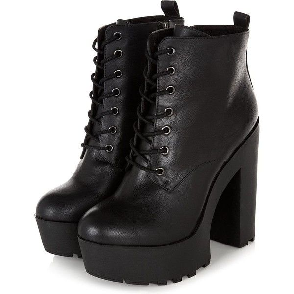 Black Chunky Platform Lace Up Block Heel Boots found on Polyvore .