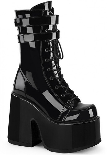 Demonia Camel-250 Chunky Heel Boots | Cyber Goth Rave and Festival .
